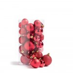 Boules en plastique rouge D 4 à 6 cm finitions assorties;