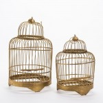 Cages en bambou or 17x17x28 + 23x23x32cm