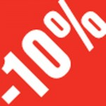 Sticker -10 % rouge et blanc 3.3x3.3cm par 500