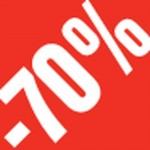 Sticker -70 % 3.3x3.3cm rouge/blanc - Par 500